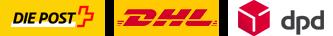 Versandarten: Post, DHL, DPD