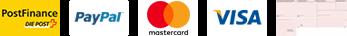 Zahlungsmöglichkeiten: Postfinance, PayPal, MasterCard, Visa, TWINT, Rechnung
